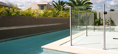 View our range of semi frameless glass pool fencing